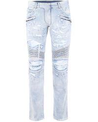 Balmain Destroyed Biker Jeans - Blue