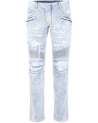 Balmain Jeans Biker Destroyed - Blu