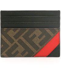 Fendi Ff Red Stripe Cardholder