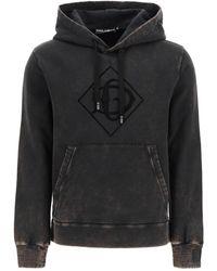 Dolce & Gabbana Dolce & Gabbana Hooded Sweatshirt Dg Flock - Black
