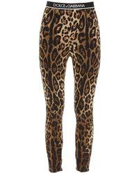 Dolce & Gabbana LEGGINGS IN SETA CON ELASTICO LOGO - Marrone