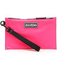Versace 90s Vintage Logo Nylon Pouch - Pink