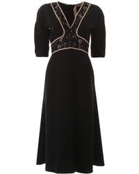 N°21 Dress With Lace Inserts - Black