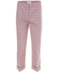 Essentiel Cropped Check Pants - Red