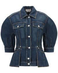 Alexander McQueen Short-sleeved Denim Jacket - Blue