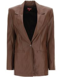 STAUD Madden Blazer In Vegan Leather - Brown