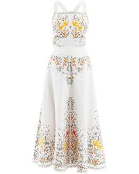 Zimmermann Carnaby Floral-embroidered Linen Midi Dress - Multicolor