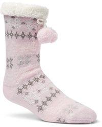Columbia Fair Isle Slipper Sock - Pink