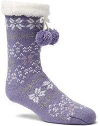 Columbia Fair Isle Slipper Sock - Purple