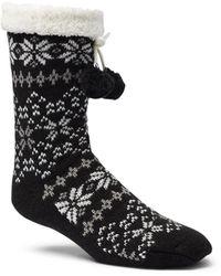 Columbia Fair Isle Slipper Sock - Black