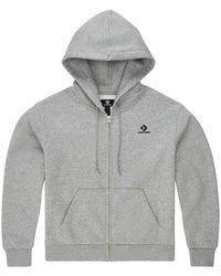 Converse Embroidered Star Chevron Full Zip Hoodie - Grey