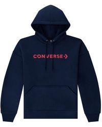 Converse Embroidered Wordmark Pullover Hoodie - Blu