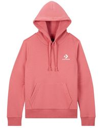 Converse Embroidered Star Chevron Pullover Hoodie - Pink