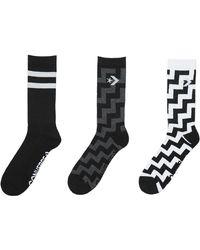 Converse Voltage Crew 3 Pack Socks - Black