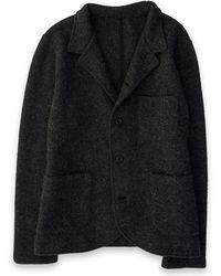 Corridor NYC Blazer Cardigan - Boiled Wool / Alpaca - Charcoal - Gray