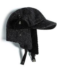 Eastlogue - Bomber Hat- Black & Charcoal Herringbone - Lyst