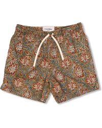 Corridor NYC Olive Handblock Paisley - Veg Dye Shorts - Natural