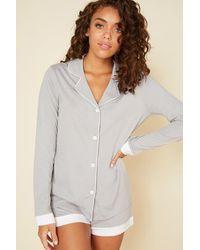 Cosabella Long Sleeve Top & Boxer Pyjama Set - White