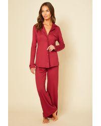 Cosabella Long Sleeve Top & Pant Pyjama Set - Red