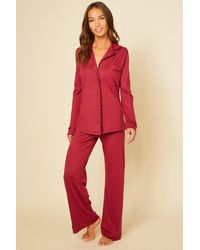 Cosabella Relaxed Long Sleeve Top & Pant - Red