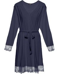 Cosabella Cheyenne Long Sleeve Robe - Blue