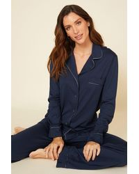 Cosabella Relaxed Long Sleeve Top & Pant - Blue