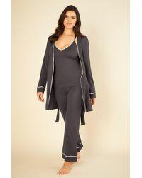 Cosabella Curvy Racerback Cami, Pant And Robe Set - Grey