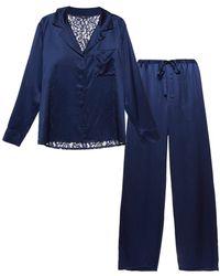 Cosabella Longsleeve Top & Pant Pj Set - Blue