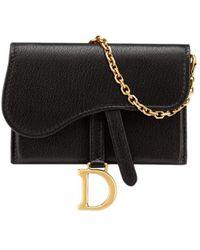 Dior Saddle Nano Pouch In Black Goatskin