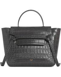 Celine Micro Belt Bag In Grey Crocodile Embossed Calfskin
