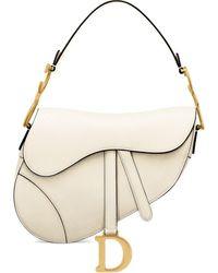 Dior Saddle Bag In Latte Grained Calfskin - Natural
