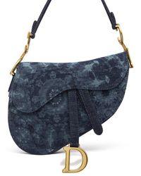 Dior Saddle Bag In Denim - Blue