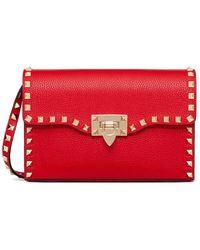Valentino - Small Rockstud Grainy Calfskin Crossbody Bag - Lyst