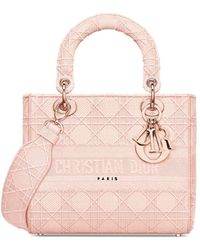 Dior Medium Lady D-lite Bag In Rosewood Cannage Embroidery - Pink
