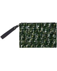 Fendi Ff Logo Camouflage Nylon Pouch - Green