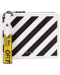 Off-White c/o Virgil Abloh Flat Diag White & Black Leather Double Clutch