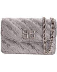 Balenciaga Bb Silver Shimmer Wallet On Chain Bag - Metallic