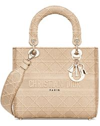 Dior Medium Lady D-lite Bag In Beige Cannage Embroidery - Natural