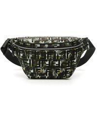 Fendi Ff Logo Camouflage Belt Pack - Black