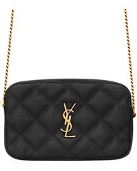 Saint Laurent Becky Double-zip Pouch In Quilted Lambskin - Black