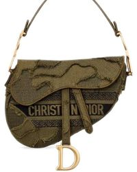 Dior Saddle Bag In Green Camouflage Embroidery