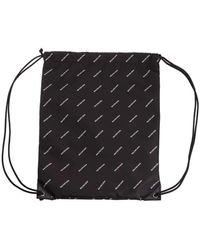 Balenciaga Explorer Black Logo Drawstring Bag