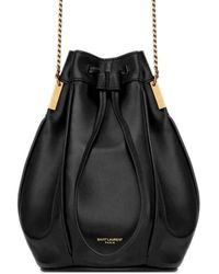 Saint Laurent Talitha Small Bucket Bag In Smooth Leather - Black