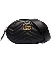 Gucci GG Marmont Matelassé Leather Belt Bag In Black