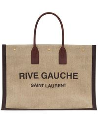 Saint Laurent Rive Gauche Tote Bag In Printed Linen And Leather - Multicolour