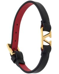 Valentino Garavani Vlogo Leather Bracelet In Black & Rouge Pur
