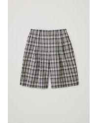 COS Checked Cotton Seersucker Shorts - Blue