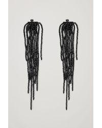 COS Long Beaded Drop Clip-on Earrings - Black