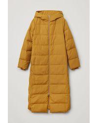 COS Long Hooded Puffer Coat - Yellow