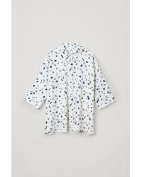 COS Wide Printed Cotton Shirt - White